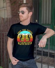 Save The Earth Its The Only Planet With Beer Classic T-Shirt lifestyle-mens-crewneck-front-2