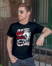 Happy With A Glass Of Wine And My Horse T Shirt Classic T-Shirt lifestyle-mens-crewneck-front-2