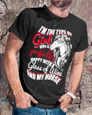 Happy With A Glass Of Wine And My Horse T Shirt Classic T-Shirt lifestyle-mens-crewneck-front-4