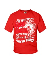 Happy With A Glass Of Wine And My Horse T Shirt Youth T-Shirt thumbnail