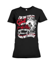 Happy With A Glass Of Wine And My Horse T Shirt Premium Fit Ladies Tee thumbnail