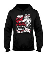 Happy With A Glass Of Wine And My Horse T Shirt Hooded Sweatshirt thumbnail