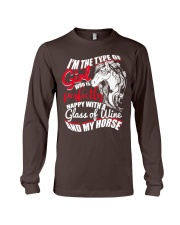 Happy With A Glass Of Wine And My Horse T Shirt Long Sleeve Tee thumbnail