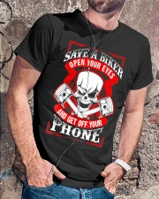 Motorcycle Awareness T-Shirt Save a Biker Classic T-Shirt lifestyle-mens-crewneck-front-4