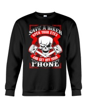 Motorcycle Awareness T-Shirt Save a Biker Crewneck Sweatshirt thumbnail