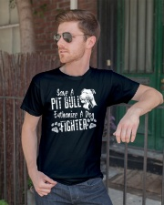 Save A Pitbull Euthanize A Dog Fighter Classic T-Shirt lifestyle-mens-crewneck-front-2