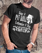 Save A Pitbull Euthanize A Dog Fighter Classic T-Shirt lifestyle-mens-crewneck-front-4