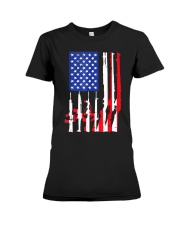 American Flag Gun Support T-Shirt  Premium Fit Ladies Tee thumbnail