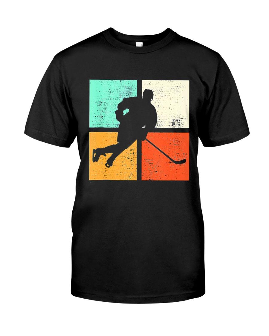 Ice Hockey Player Stick Goalie Retro Vintage  Classic T-Shirt