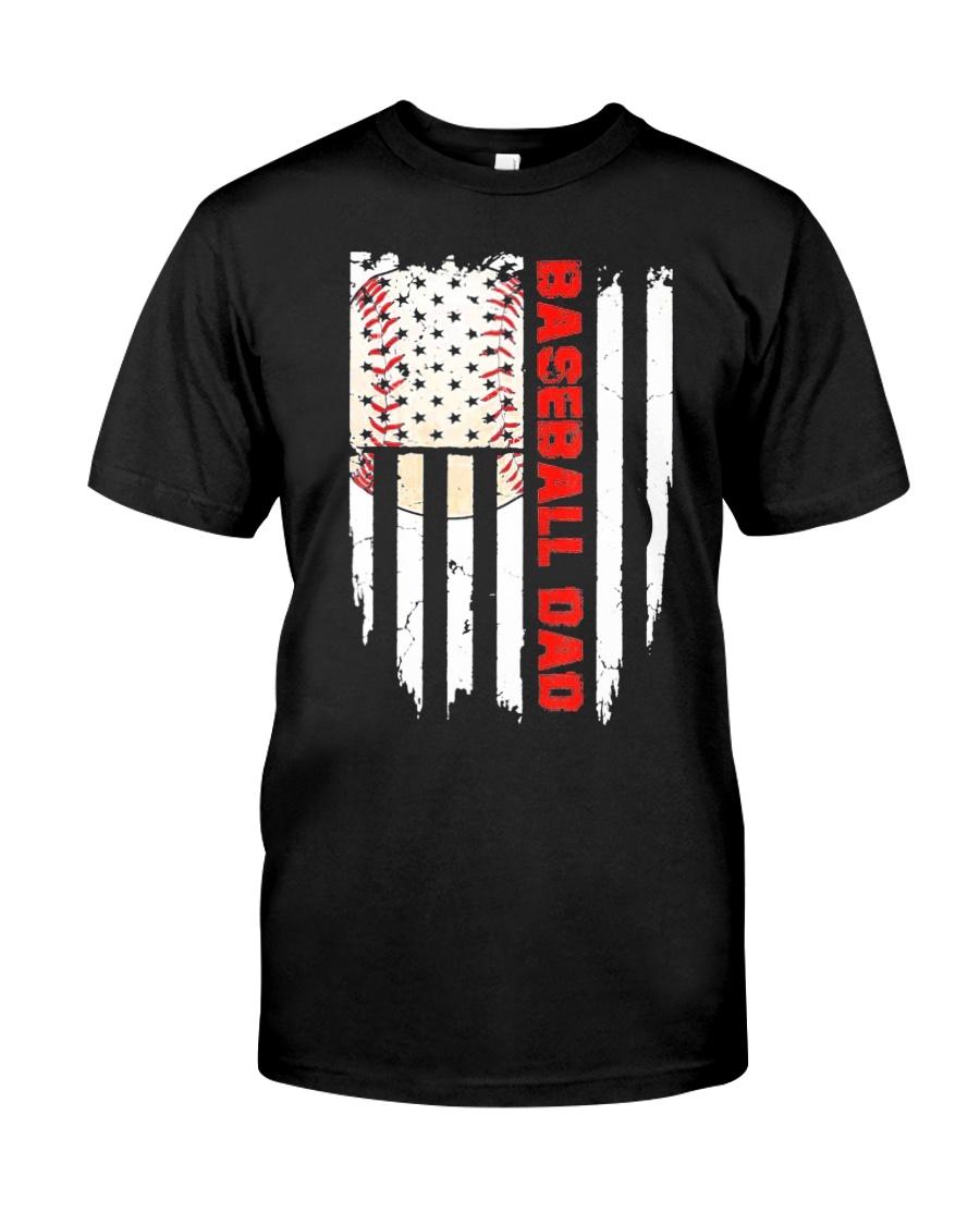 Distressed USA Flag Baseball Dad T-Shirt  Classic T-Shirt