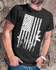 Distressed American Flag Guns T-Shirt Classic T-Shirt lifestyle-mens-crewneck-front-4