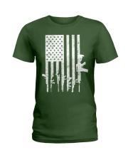 Distressed American Flag Guns T-Shirt Ladies T-Shirt thumbnail
