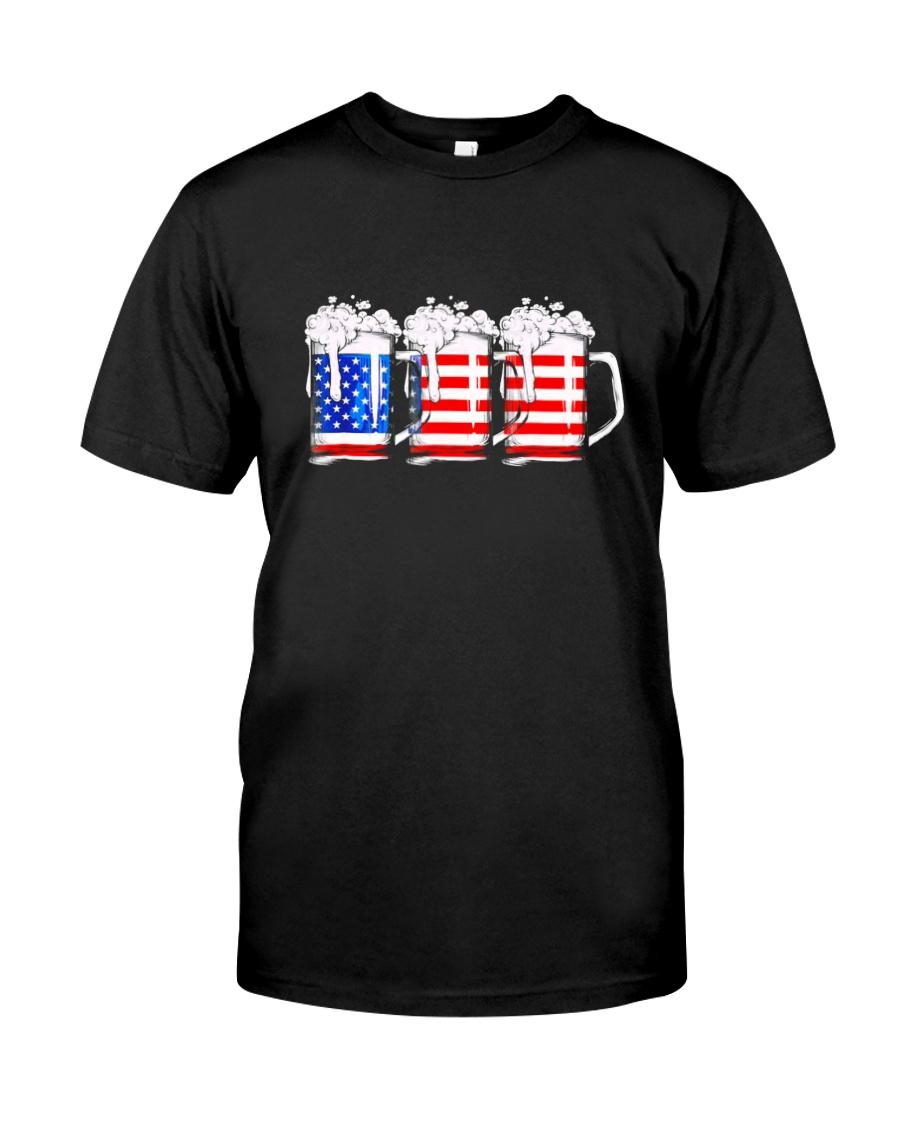Beer American Flag T shirt Classic T-Shirt