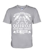 QUIROZ - Veins Name Shirts V-Neck T-Shirt thumbnail