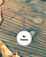 Be happy Circle Earrings aos-earring-circle-front-lifestyle-4