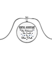 FOR DENTAL ASSISTANTS Metallic Circle Necklace thumbnail