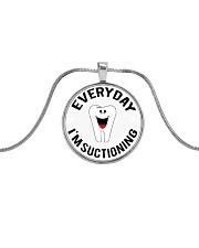 EVERYDAY I'M SUCTIONING Metallic Circle Necklace thumbnail