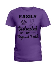 Easily Distracted By Dogs And Teeth Ladies T-Shirt tile