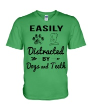 Easily Distracted By Dogs And Teeth V-Neck T-Shirt thumbnail