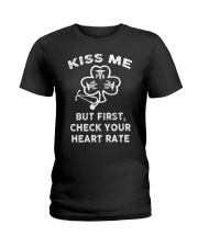 KISS ME - But First Check Your Heart Rate Ladies T-Shirt thumbnail