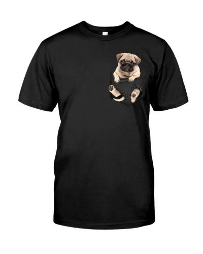 Pug In Pocket T Shirt Funny Dog Lover