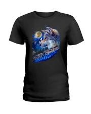 Alpha Wolf and Moon Ladies T-Shirt thumbnail