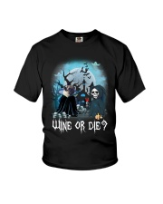 Pug Wine or Die Youth T-Shirt thumbnail