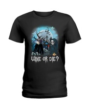 Pug Wine or Die Ladies T-Shirt thumbnail