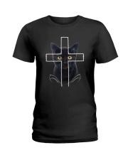 Black Cat Cross Ladies T-Shirt thumbnail