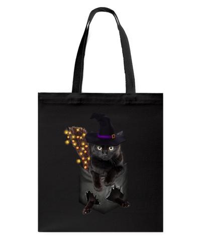 Black cat Halloween Pocket