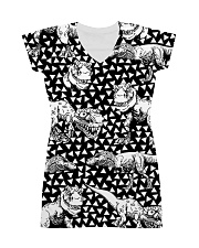 Dinosaur Black And White T5TS All-Over Dress tile