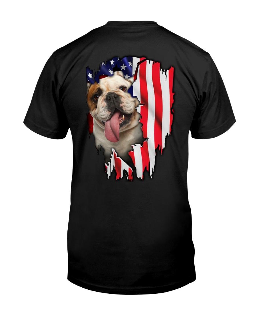 Bulldog Behind Flag Classic T-Shirt