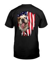Bulldog Behind Flag Classic T-Shirt back