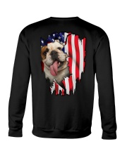 Bulldog Behind Flag Crewneck Sweatshirt thumbnail