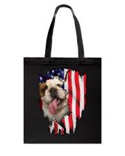 Bulldog Behind Flag Tote Bag thumbnail