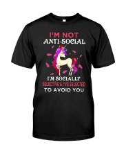 Unicorn Not Anti Social Classic T-Shirt front