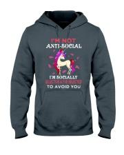 Unicorn Not Anti Social Hooded Sweatshirt thumbnail
