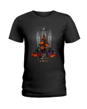 Manchester Terrier Halloween tree Ladies T-Shirt tile