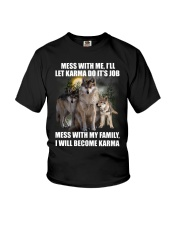 Wolf - Don't mess with my family Youth T-Shirt thumbnail