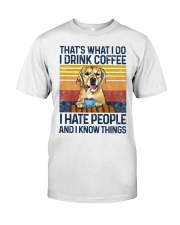 Funny Golden Retriever Drink Coffee Hate People Classic T-Shirt thumbnail
