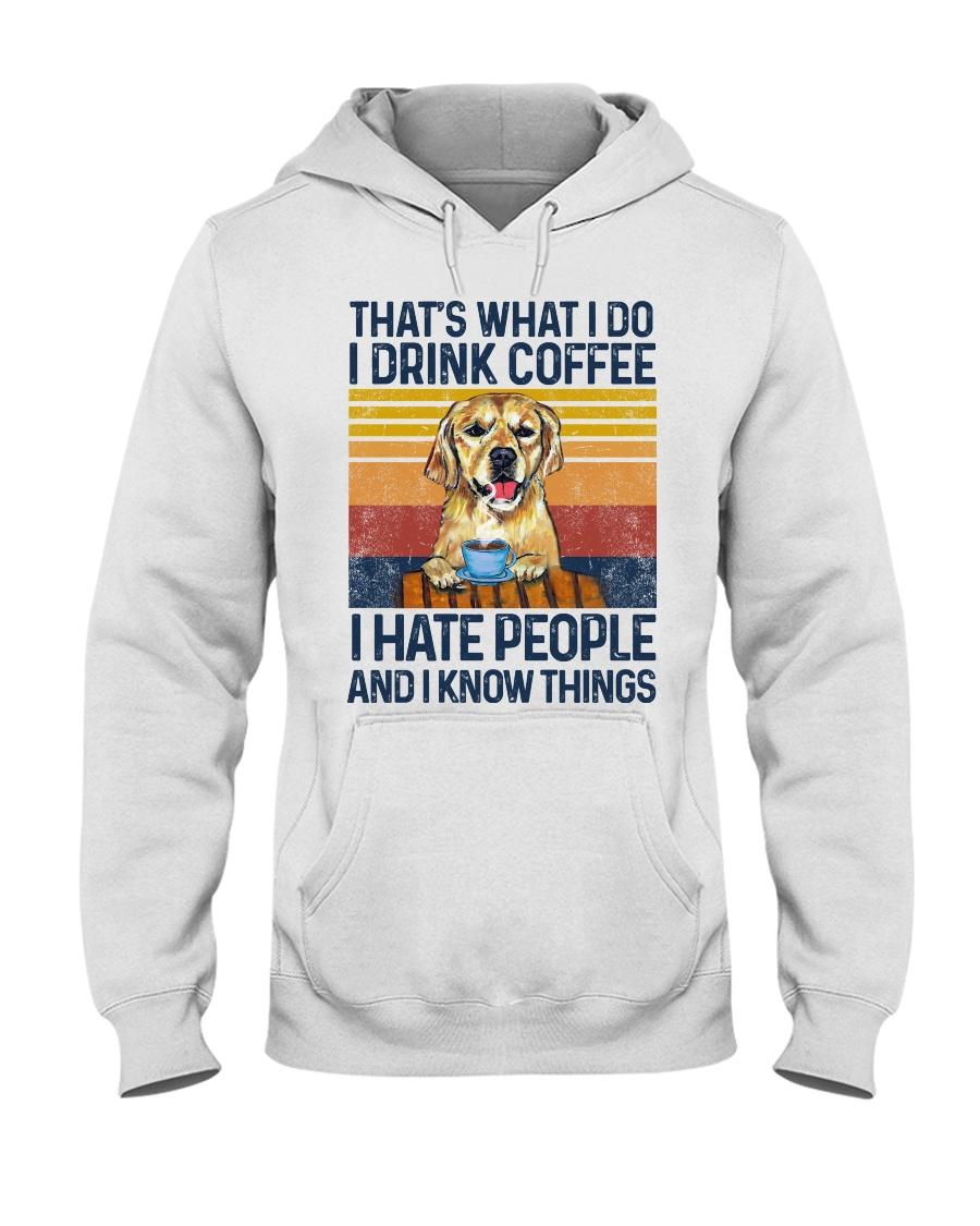 Funny Golden Retriever Drink Coffee Hate People Hooded Sweatshirt