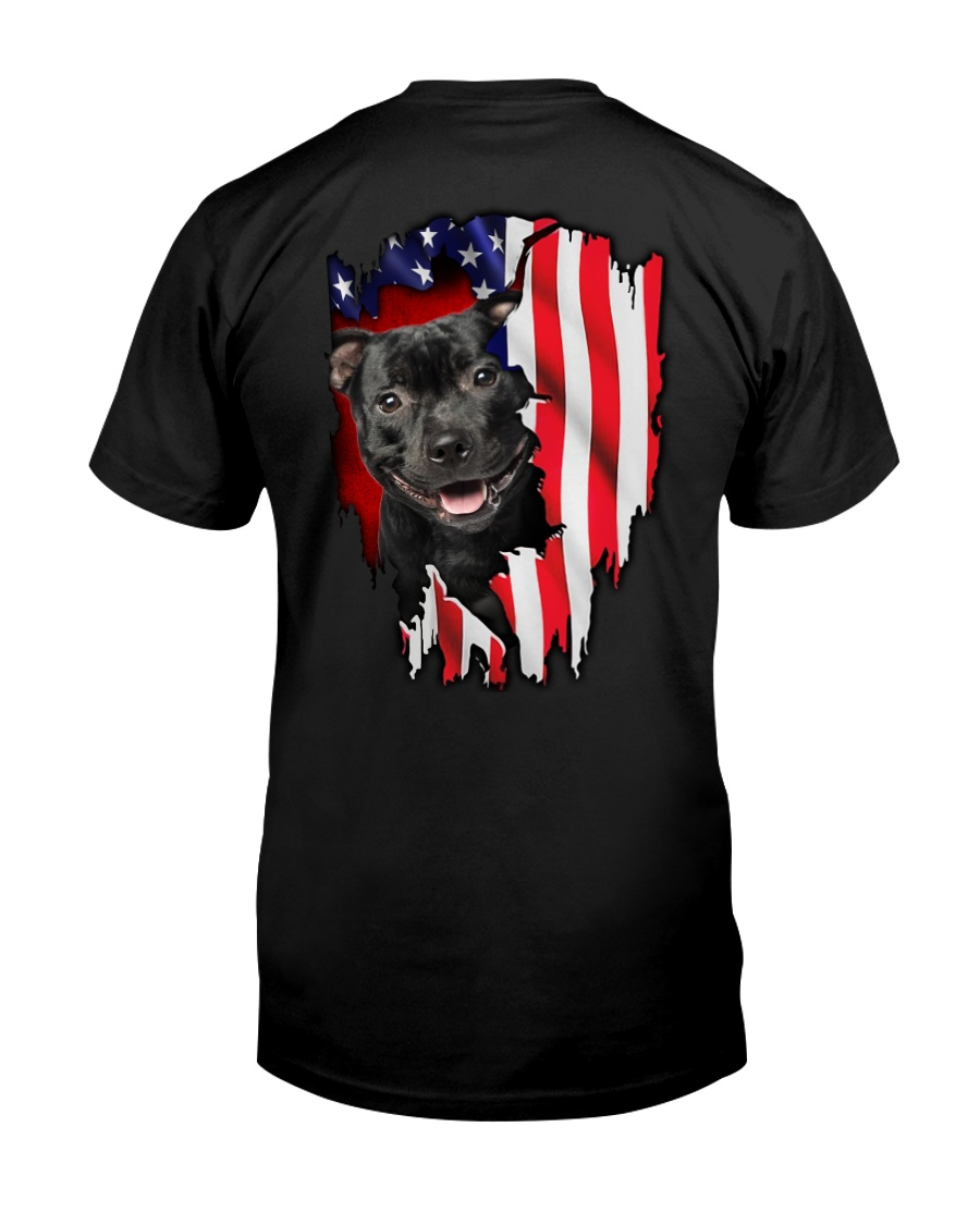 Staffordshire Bull Terrier Behind Flag Classic T-Shirt