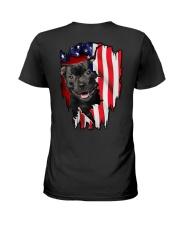 Staffordshire Bull Terrier Behind Flag Ladies T-Shirt thumbnail