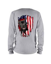 Staffordshire Bull Terrier Behind Flag Long Sleeve Tee thumbnail
