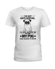 Pug Anti-social Ladies T-Shirt thumbnail