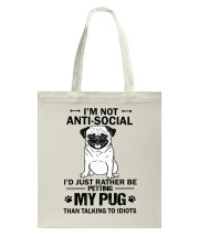 Pug Anti-social Tote Bag thumbnail