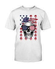 Skull USA Flag T5TO Classic T-Shirt front