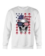 Skull USA Flag T5TO Crewneck Sweatshirt thumbnail