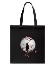 Black Cat Moon and Flower Tote Bag thumbnail