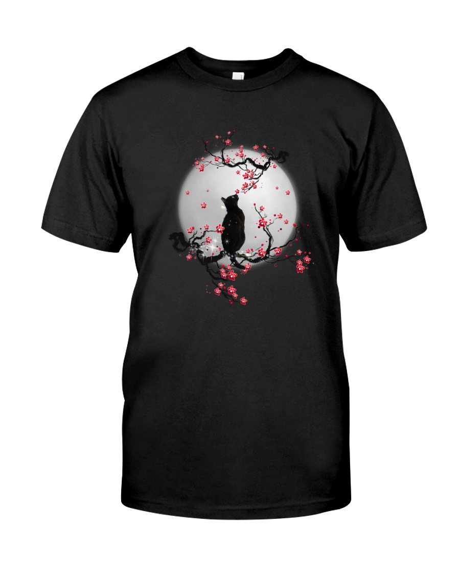 Black Cat Moon and Flower Classic T-Shirt